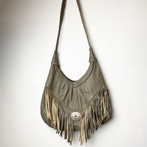 Handbags - Genuine leather boho fringe taupe concho bag